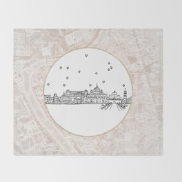 Roma (Rome), Italy, Europe City Skyline Illustration Drawing Throw Blanket