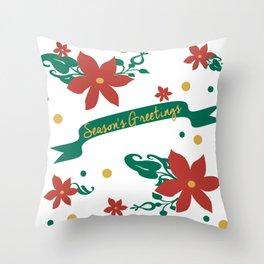 Season's Greetings Floral Pattern 1 Throw Pillow