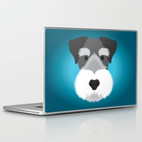 schnauzer Laptop & iPad Skins featuring Miniature Schnauzer  by Three Black Dots