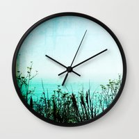 big sur Wall Clocks featuring Big Sur by Mermaid's Coin Surf Art * by Hannah Kata