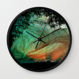 Sunset stormy skies Wall Clock