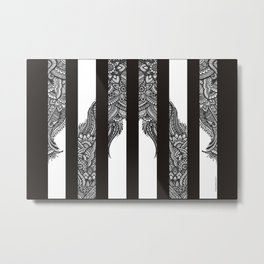 Black and White stripes with Henna style freehand floral doodle design Metal Print