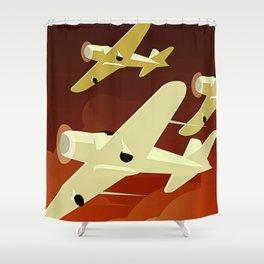Art Deco Single Engine Planes Shower Curtain