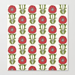 Dot Floral in Red Canvas Print