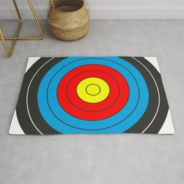 Yellow, red, blue, black target on white background Rug