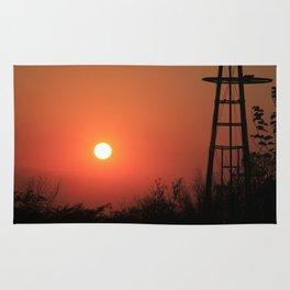 Blazing Red Kansas Windmill Silhouette Rug
