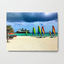 DCL Cruise Ship from Port in the Bahamas Metal Print
