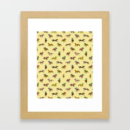 To The Horse Races (Yellow) Framed Art Print