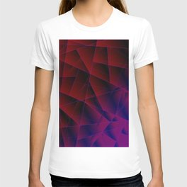 Abstract strict pattern of burgundy and overlapping purple triangles and irregularly shaped lines. T-shirt