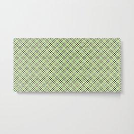 Lime Plaid Rug Pattern Metal Print