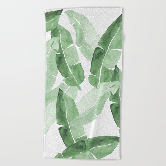 Tropical Leaves 2 Beach Towel
