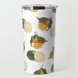 Lime and Clementine Fruits Pattern on White Background Travel Mug