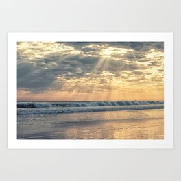 Rays From Above sun rays on Cayucos Beach Art Print