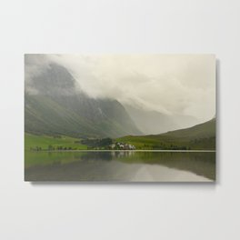 an lake on a misty day in Norway | nature photo | fine art photo print | travel photography Metal Print