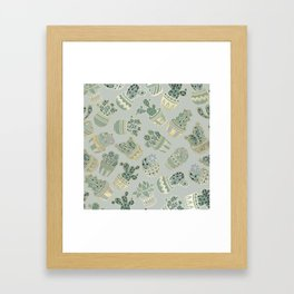 Mint green black faux gold cactus floral Framed Art Print