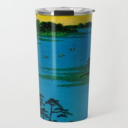 Hiroshige, Sunset Contemplative Landscape Travel Mug