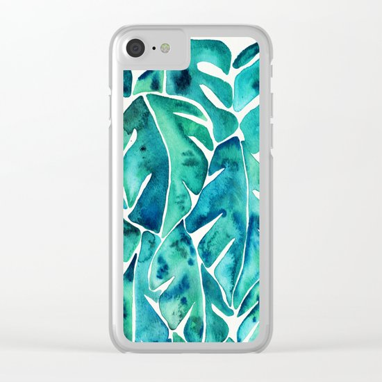 Split Leaf Philodendron – Teal Clear iPhone Case