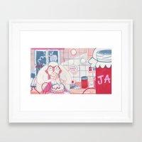 nan lawson Framed Art Prints featuring Baking Nan by StinkyInky_Jess