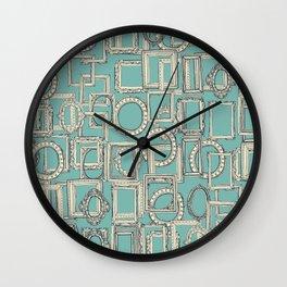 picture frames aplenty indigo duck egg blue Wall Clock