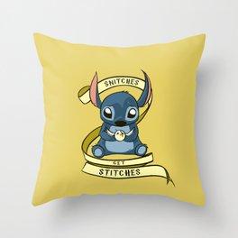 Snitches Get Stitches Throw Pillow