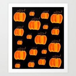 Halloween Watercolor Pumpkins Art Print