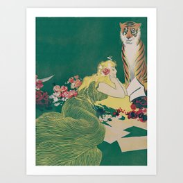 Fantasy Art Deco Woman With Pet Tiger Self culture (edited) - The Werner Company - 1890-1900 Kunstdrucke