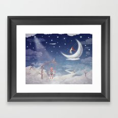 City of children on  fantastic clouds in the sky Framed Art Print