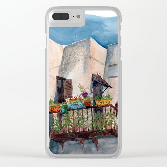 Herbs and blossom on Rhodian balcony Clear iPhone Case