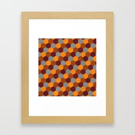 Browns Hues Geometric Marquetry Pattern Framed Art Print