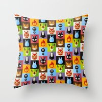 calcifer Throw Pillows featuring Miyazaki's by badOdds