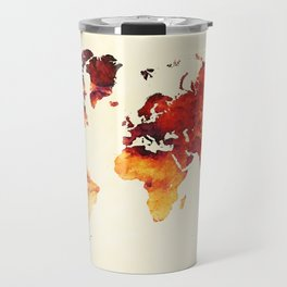 world map 89 art red Travel Mug