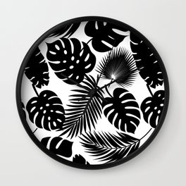 Tropical Leaves - Black on White Wall Clock