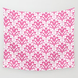 Pink Art Deco Floral Damask Wall Tapestry