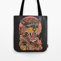 panther Tote Bags featuring Panther by MIRKOW GASTOW