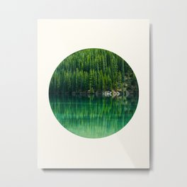 Mid Century Modern Round Circle Photo Graphic Design Reflective Green Pine Forest Lake Metal Print