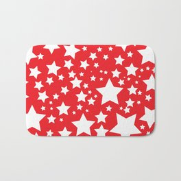 Red with white stars Bath Mat