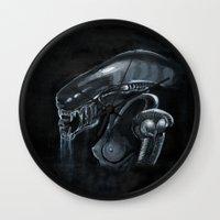 xenomorph Wall Clocks featuring Mama Xenomorph by Nataliette