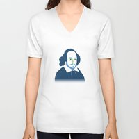 shakespeare V-neck T-shirts featuring Shakespeare by thatonedude