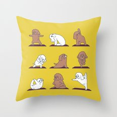 Poodle Yoga Throw Pillow