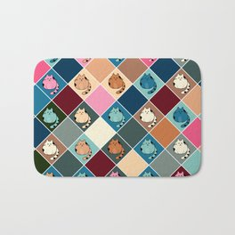 Colorful  cartoon kitty  Checkered pattern Bath Mat