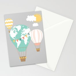 World map hot air balloons Stationery Cards