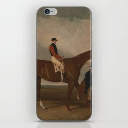 Abraham Cooper - 'Elis' at Doncaster, Ridden by John Day, with his Van in the Background (1836) iPhone Skin