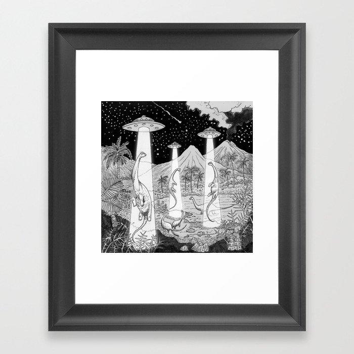 Dino abduction Gerahmter Kunstdruck