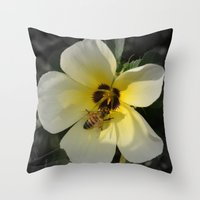 bee Throw Pillows featuring Bee by Lia Bernini