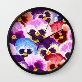 Multicolor pansies floral pattern Wall Clock