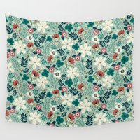 garden Wall Tapestries featuring Flower Garden by Anna Deegan