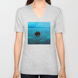 Relaxing in Tropical Paradise at End of Day Unisex V-Neck