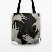 wolves Tote Bags featuring Wild Dog by Corinne Reid