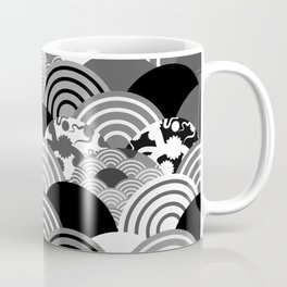 Nature background with japanese sakura flower, Cherry, wave circle Black gray white colors Coffee Mug
