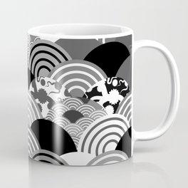 Nature background with japanese sakura flower, Cherry, wave circle Black gray white colors Coffee Mug